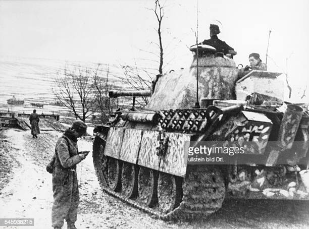 German Panzer V tank of the 'Leibstandarte' division on the Eastern Front 26 February 1945 towards the end of World War II in Europe 1945 Vintage...