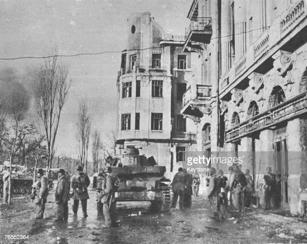 German panzers rolls through the streets of Kharkov in the Ukraine during World War II having taken the city circa 1942