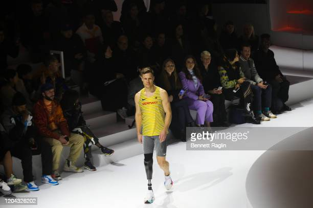 German paralympic long jumper Markus Rehm walks the runway during the 2020 Tokyo Olympic collection fashion show at The Shed on February 05 2020 in...
