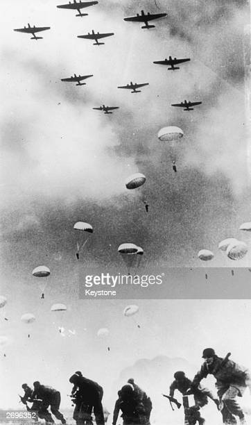 German paratroops land during the invasion of Crete