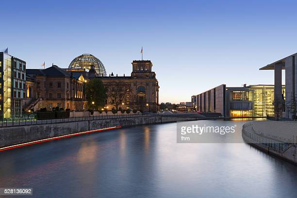 German Parliament building (Reichstag building) Berlin, Spree river and blue hour