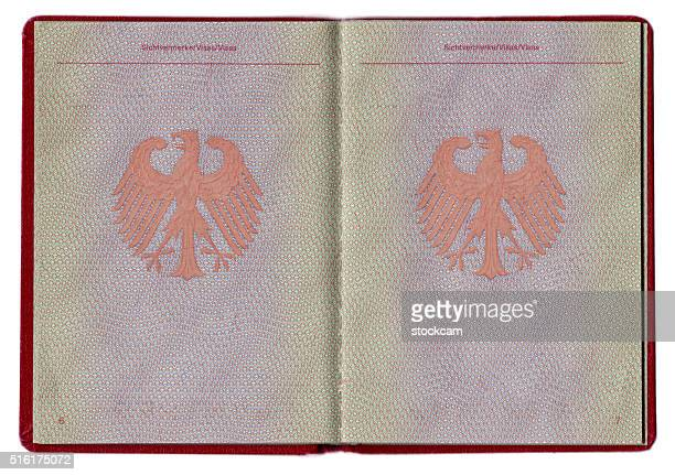 German passport blank pages close-up