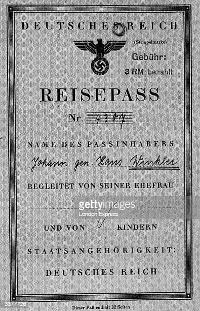 German passport issued during the Third Reich