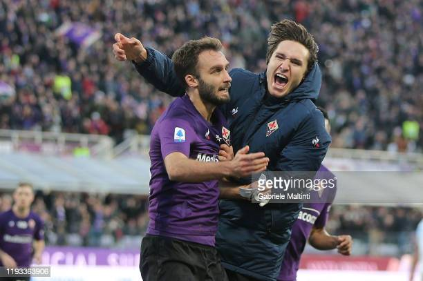 German Pezella of ACF Fiorentina celebrates after scoring a goal during the Serie A match between ACF Fiorentina and SPAL at Stadio Artemio Franchi...