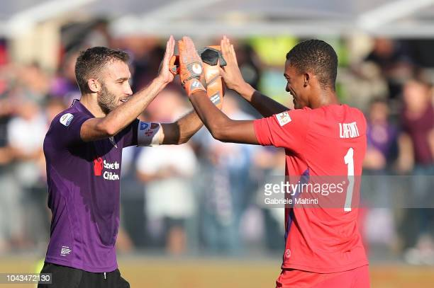 German Pezzella and AlbanMarc Lafont of ACF Fiorentina during the Serie A match between ACF Fiorentina and Atalanta BC at Stadio Artemio Franchi on...