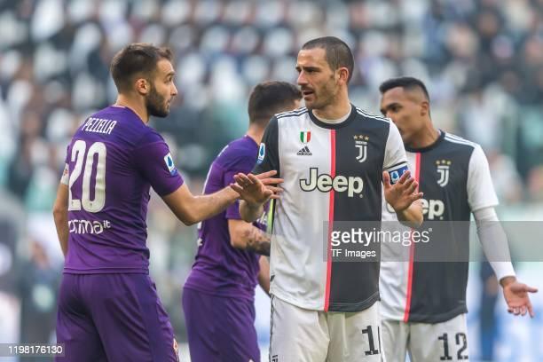 German Pezzella of ACF Fiorentina and Leonardo Bonucci of Juventus gestures during the Serie A match between Juventus and ACF Fiorentina at Allianz...