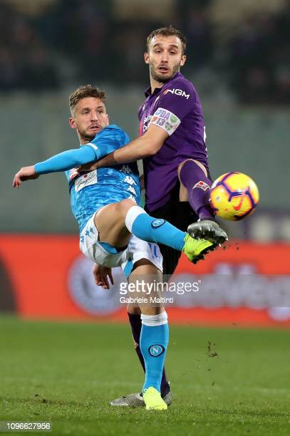 German Pezzella of ACF Fiorentina battles for the ball with Dries Mertens of SSC Napoli during the Serie A match between ACF Fiorentina and SSC...