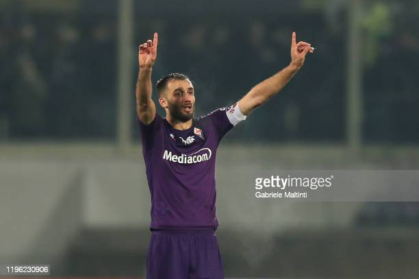 German Pezzella of ACF Fiorentina gestures during the Serie A match between ACF Fiorentina and Genoa CFC at Stadio Artemio Franchi on January 25 2020...