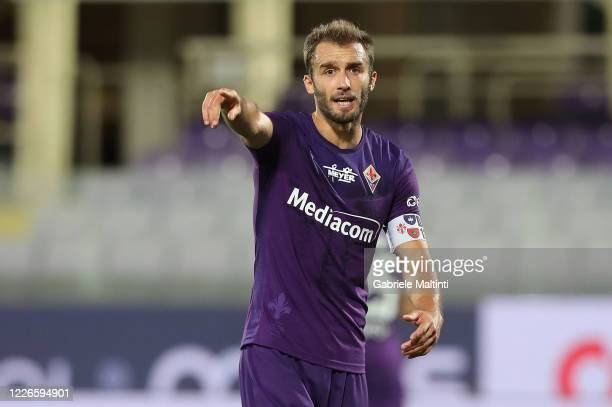 German Pezzella of ACF Fiorentina gestures during the Serie A match between ACF Fiorentina and Hellas Verona at Stadio Artemio Franchi on July 12,...