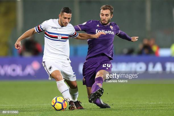 German Pezzella of ACF Fiorentina in action against Gianluca Caprari of US Sampdoria during the Tim Cup match between ACF Fiorentina and UC Sampdoria...