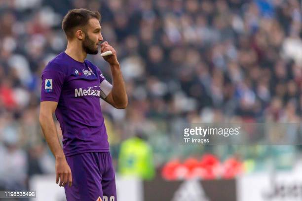 German Pezzella of ACF Fiorentina looks on during the Serie A match between Juventus and ACF Fiorentina at Allianz Stadium on February 02 2020 in...