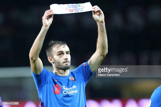 German Pezzella of AFC Fiorentina with the band of captain dedicated to Davide Astori during the Serie A match between Torino Fc and ACF Fiorentina....