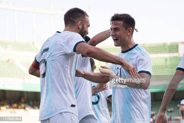 German Pezzella of Argentina celebrates his team's fourth goal with team mates during the UEFA Euro 2020 qualifier between Ecuador and Argentina on...