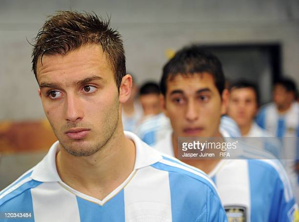 German Pezzella of Argentina waits with his teammates in the tunnel prior to the start of the FIFA U20 World Cup Colombia 2011 group F match between...
