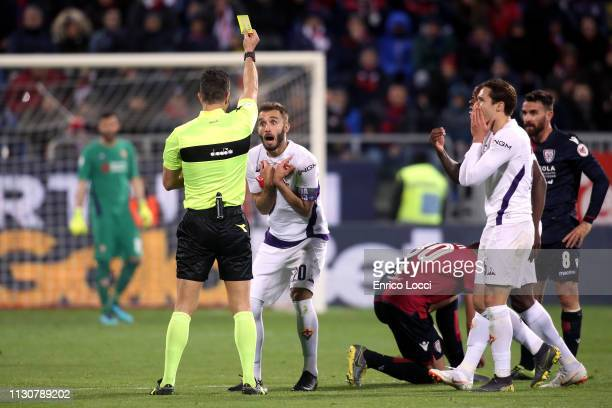German Pezzella of Fiorentina during the Serie A match between Cagliari and ACF Fiorentina at Sardegna Arena on March 15 2019 in Cagliari Italy