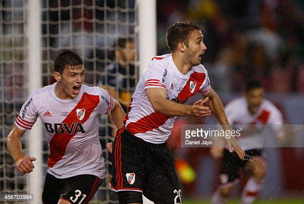 German Pezzella of River Plate celebrates after scoring the first goal of his team during a match between River Plate and Boca Juniors as part of...