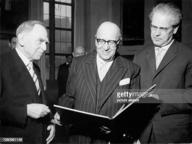 German philospher and sociologist Max Horkheimer has a look at the document of honorary citizenship which was awarded to him on the 14th of February...
