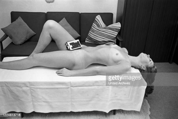 German photo model Angelika Vogel wearing a bikini, Germany, 1970s.