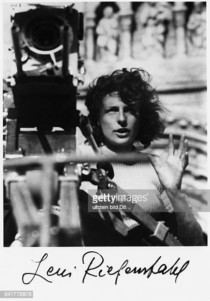 German photographer, actress and director behind the camera during filming of 'Tiefland' in 1940.