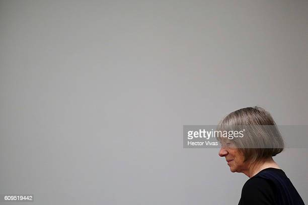 German photographer Candida Hofer arrives a press conference at OMR Gallery on September 21 2016 in Mexico City Mexico