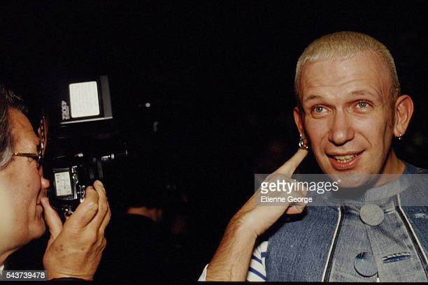 German photographer Helmut Newton and French fashion designer JeanPaul Gaultier on the set of the film PrêtàPorter directed by American director...