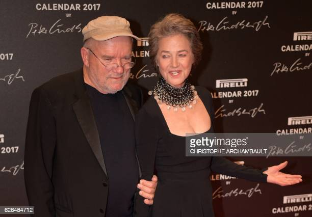German photographer Peter Lindbergh and British actress Charlotte Rampling pose during a photocall ahead of a gala dinner held for the international...