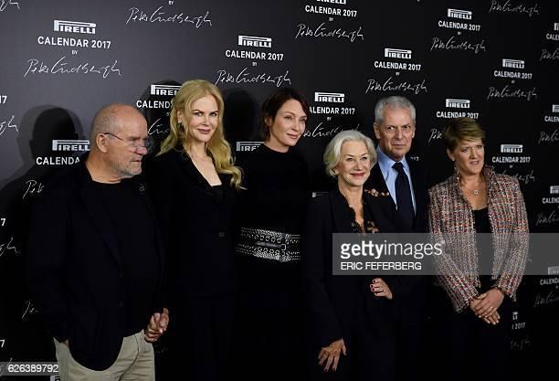 German photographer Peter Lindbergh US actress Nicole Kidman US actress Uma Thurman British actress Helen Mirren and Pirelli CEO Marco Tronchetti...