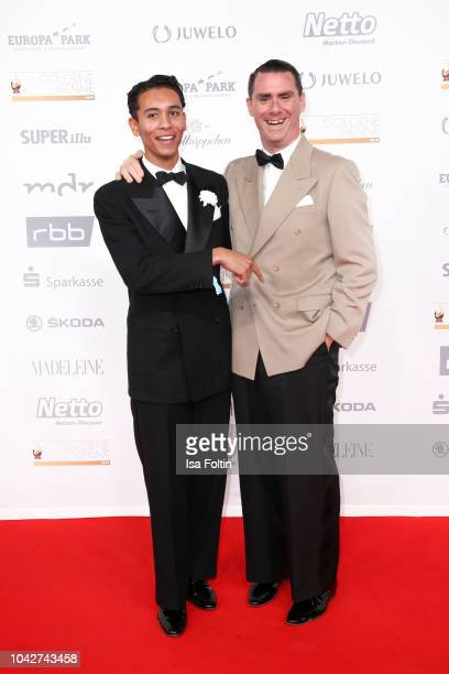 German piano player Andrej Hermlin and his son David hermlin during the Goldene Henne on September 28 2018 in Leipzig Germany