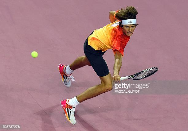 German player Alexander Zverev returns the ball to the French player PaulHenri Mathieu during their semifinal tennis match at the Open Sud de France...