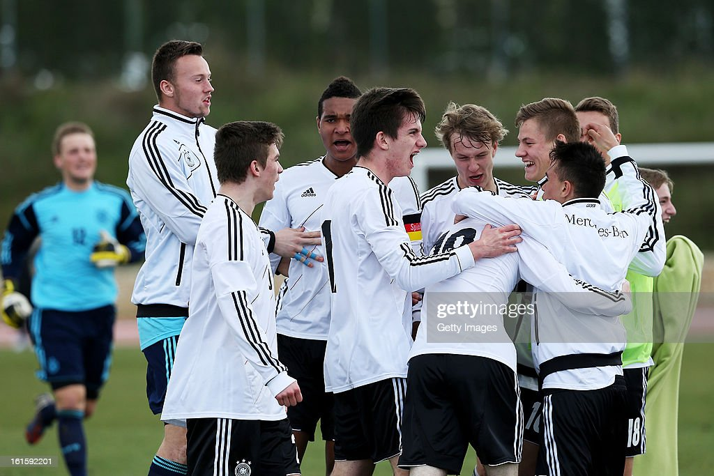 German players celebrate a goal during the Under17 Algarve Youth Cup match between U17 Portugal and U17 Germany at the Stadium Bela Vista on February 12, 2013 in Parchal, Portugal.