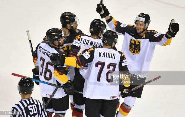 German players celebrate after scoring during the IIHF Men's Ice Hockey World Championships Group A match between Germany and Slovakia on May 15 2019...