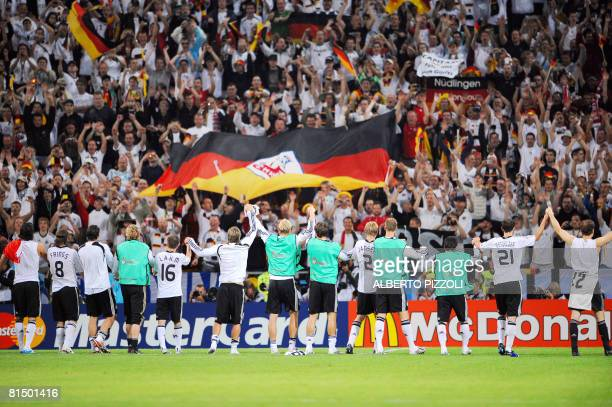 German players celebrate at the end of their Euro 2008 Championships Group B football match Germany vs. Poland on June 8, 2008 at Woerthersee stadium...