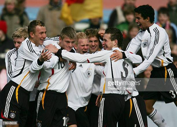 German players celebrate during the Men's U17 European Championship Qualifying match between Germany and Greece on March 21 2007 in Spelle near...