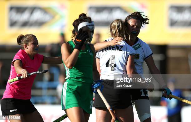 German players celebrate equalising in the final minute during day 2 of the FIH Hockey World League Women's Semi Final Pool A match between Germany...