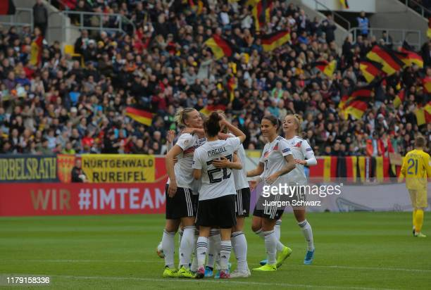 German players celebrates the first goal by Klara Buehl during the UEFA Women's European Championship 2021 qualifier match between Germany and...
