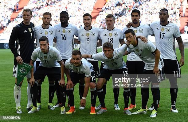German players goalkeepr Manuel Neuer Benedikt Hoewedes Antonio Ruediger Jonas Hector Toni Kroos Sami Khedira Jerome Boateng Julian Draxler Mario...