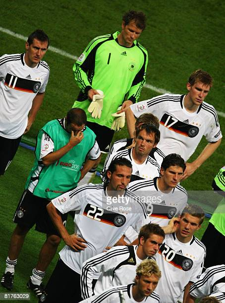 German players line up to receive their silver medals following the UEFA EURO 2008 Final match between Germany and Spain at Ernst Happel Stadion on...