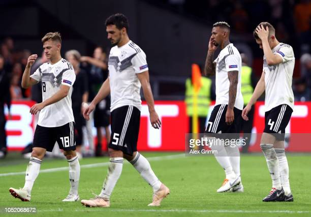 German players look dejected after the match during the UEFA Nations League A group one match between Netherlands and Germany at Johan Cruyff Arena...