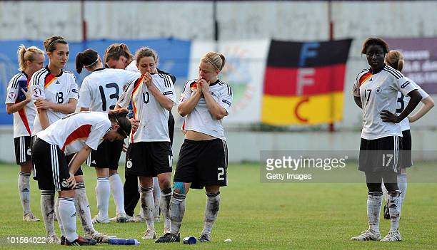 German players react after loosing the penalty shootout from France in the UEFA Women's Under19 European Championship semifinal match between Germany...