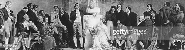 'German poet Johann Wolfgang von Goethe Meeting in Weimar 1803 From left Friedrich von Schiller Gleim Iffland von Schlegel Gauss Schleiermacher...
