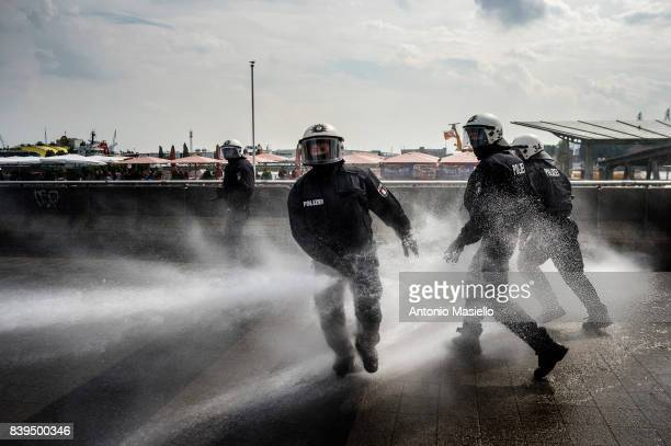 German police clashes against anticapitalist demonstrators during the g20 summit in Hamburg Germany on July 7 2017 German police and protesters...