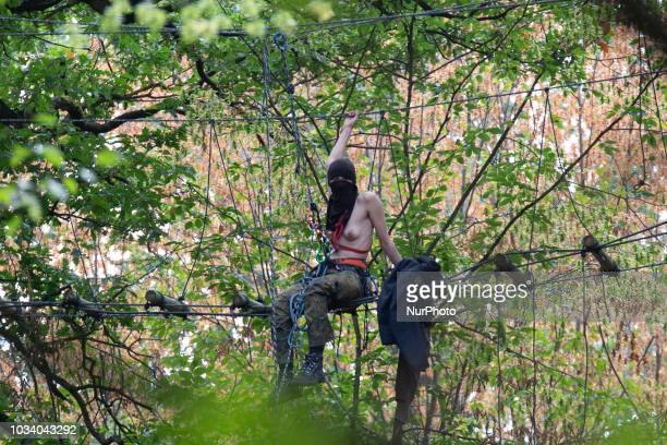 German police continued to raid three house at the Hambacher forest occupation of environmentalists who are protesting against the open coal mine pit...