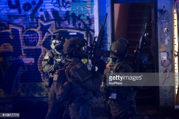 German police special squad during riots in St Pauli district during G 20 summit in Hamburg on July 8 2017 Authorities are braced for largescale and...