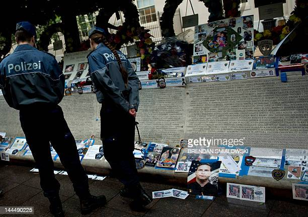 German police visit the National Law Enforcement Officers Memorial May 14 2012 in Washington DC Police and emergency workers from around the United...