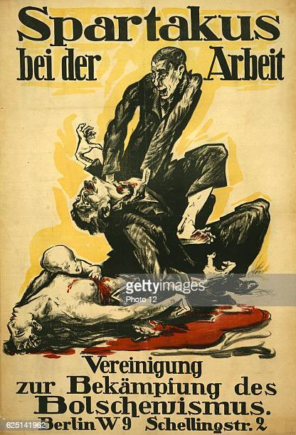 German political poster Spartakus at work showing a member the communist Spartacus League murdering a family