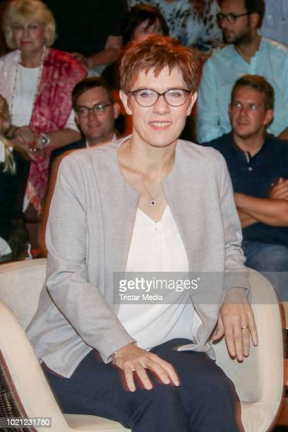 German politician Annegret KrampKarrenbauer during the 'Markus Lanz' TV Show on August 21 2018 in Hamburg Germany