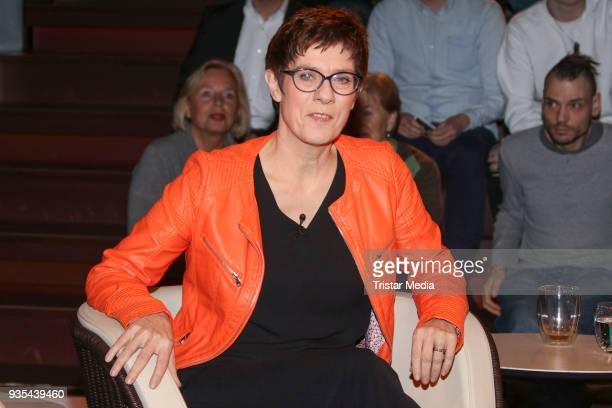 German politician Annegret KrampKarrenbauer during the 'Markus Lanz' TV Show on March 20 2018 in Hamburg Germany