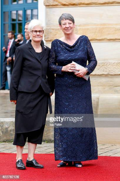 German politician Barbara Hendricks and her partner Valerie Vauzange attend the Bayreuth Festival 2017 Opening on July 25 2017 in Bayreuth Germany