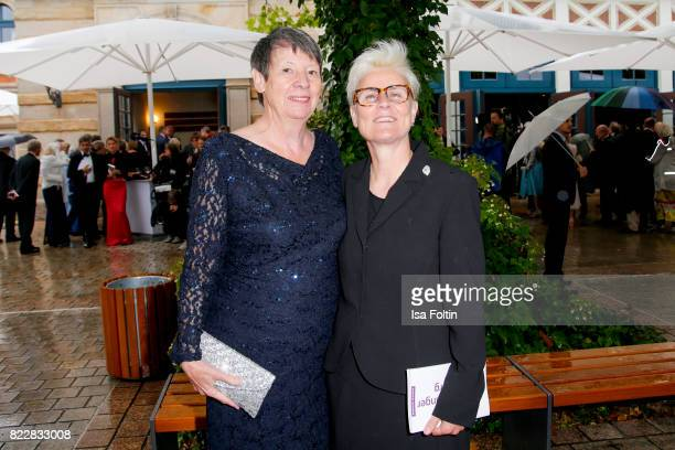 German politician Barbara Hendricks and her partner Valerie Vauzanges attend the Bayreuth Festival 2017 Opening on July 25 2017 in Bayreuth Germany