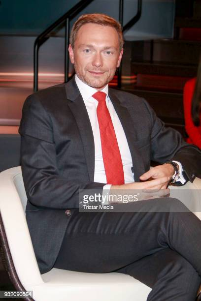 German politician Christian Lindner during the 'Markus Lanz' TV Show on March 14 2018 in Hamburg Germany